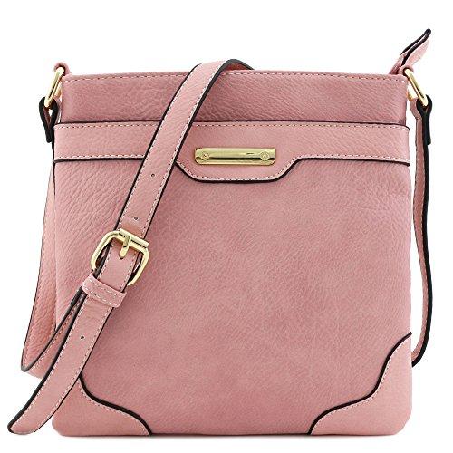 Umhängetasche, mittelgroß, solide, modern, klassisch, vergoldet., Pink (rosa - dusty pink), Einheitsgröße
