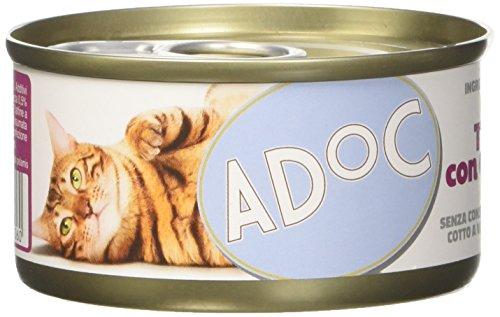Adoc - Cibo Umido per Gatti Adulti con Ingredienti Naturali Tonnetto con Gamberetti - 24 lattine da 85gr