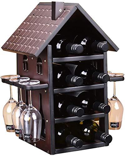 TUHFG Botellero rústico apilable, Estante del Vino con estantes de Cristal Titular Percha de Madera encimera almacenaje del Vino Base de la Pantalla, 8 Botellas