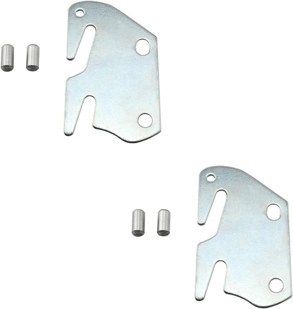 DZS Elec 2pcs Wooden Bed to Catch Hook Plates with 4pcs Mounting Pins Bed Rail Brackets Hook Plates Furniture Connector Bed Hanging Hook Plate Furniture Hardware Accessories