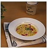 SkyKey Tableware White Fine Porcelain Deep Pasta Plate/Soup Plate/Meggie Plate/Gravy (22 cm, 4-Plates)