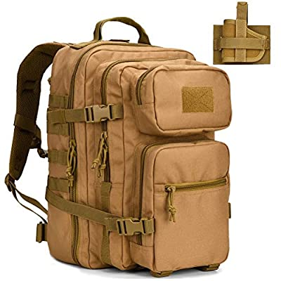 BOW-TAC Military Tactical Backpack w/Gun Holster Small 3 Day Assault Pack Army Bug Bag Backpacks Rucksacks Range Bags for Outdoor Hiking Camping Trekking Hunting Tan