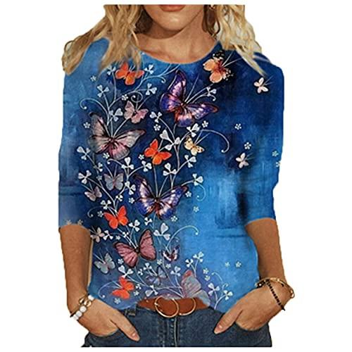SLYZ T-Shirt A Maniche Lunghe con Stampa Autunnale da Donna Top Girocollo da Donna