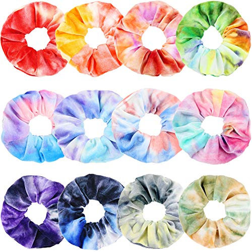 IVARYSS Scrunchies for Girls, 12 Pcs Tie Dye Velvet Scrunchies for Hair, Soft Rainbow Ponytail Holder, Cute Candy Colors Elastic Hair Bands for Teens and Women