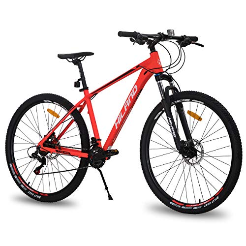 Hiland 29 Inch Mountain Bike for Men Adult Bicycle Aluminum Hydraulic Disc-Brake 16-Speed 18 Inch with Lock-Out Suspension Fork Urban Commuter City Red…