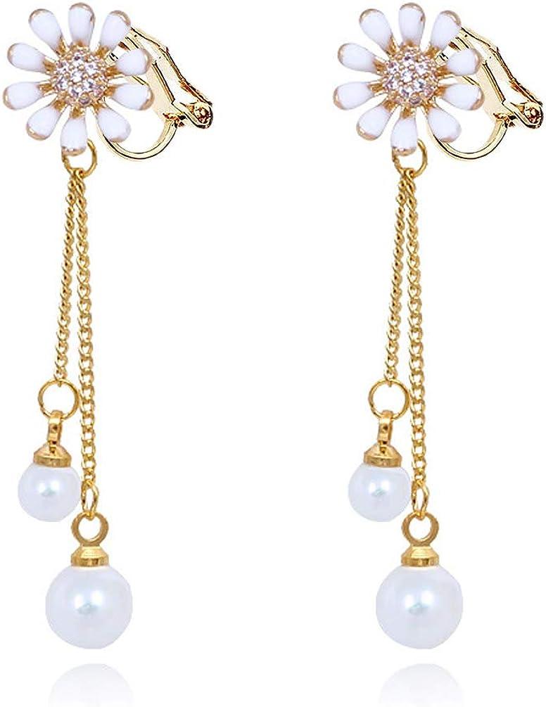 Flower Clip on Dangle Earrings no Pierced Rubber Pads Tassel Faux Pearl Crystal Gold Tone for Women Girls