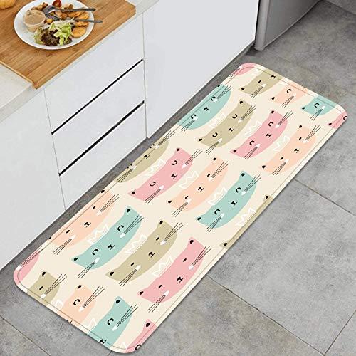PUIO Juegos de alfombras de Cocina Multiusos,bebé, Seamless, patrón, Lindo, Gatos, Infantil,Alfombrillas cómodas para Uso en el Piso de Cocina súper absorbentes y Antideslizantes