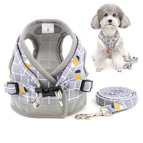 Zunea No Pull Small Dog Harness and Leash Set Adjustable Reflective Step-in Chihuahua Vest Harnesses Mesh Padded Plaid Escape Proof Walking Puppy Jacket for Boy Girl Pet Dogs Cats Gray XS