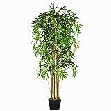 Outsunny Bambú Artificial 150cm con Maceta Árbol Planta Sintética Realista Decorativa para Casa...
