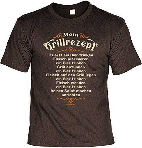 Grill T-Shirt für Männer - Mein Grillrezept - Zuerst EIN Bier - Herren Shirts braun lustiges Geschenk-Set Bedruckt mit Grillmeister-Urkunde