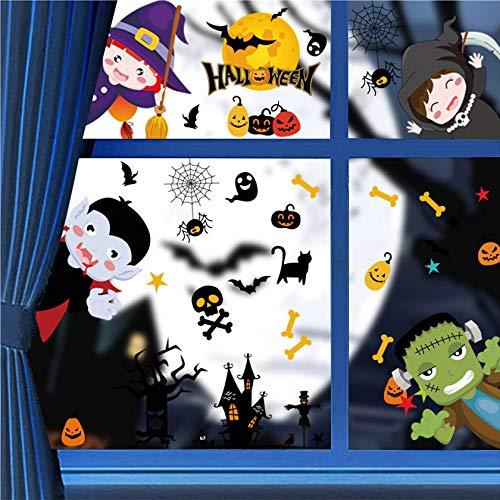 Tuopuda Halloween Fensterdeko Fenster Aufkleber Fensterbilder Dekoration de Halloween Wasserdichtes Selbstklebendes Deko für Heimdekoration Schuldekoration Halloween Party DIY Statischen Sticker