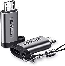 محول يو جرين USB C إلى Micro USB 2 حزمة USB C أنثى إلى Micro USB ذكر ميكرو USB إلى نوع C محول متوافق مع Samsung S7 S7 Edge Xiaomi Mi A2 Lite Huawei P Smart Y6 Y9