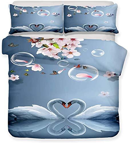 Conjunto de ropa de cama 3D cubierta de edredón, Conjunto de tapa de edredón, dibujos animados lindo animal 3d pintura de algodón suave de algodón conjunto animal mundial princesa regalo edredón cubie