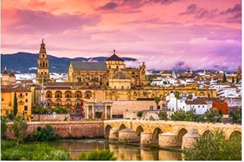ZZXSY Puzzle 1000 Piezas Educa Córdoba España En La Mezquita-Catedral Y Puente Romano Adecuado para La Decoración del Hogar.
