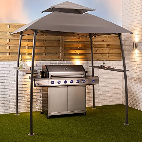 Alfresia BBQ Grill Gazebo Shelter Canopy Steel Frame with Side Shelves and Ventilation