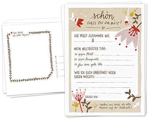 Hochzeitsspiel für Gäste - 52 Postkarten, Schön, dass du da bist, Spiel mit witzigen Fragen & zum...