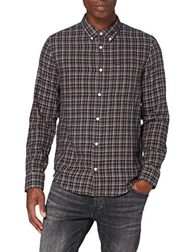 Lee Mens Button Down Shirt, Olive Green_00, XXL