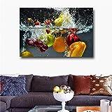 GJQFJBS HD Pintura de Lienzo Impresión Frutas y Verduras Frescas en Agua Decoración de la Cocina del hogar Sala de Estar Mural A1 30x40cm