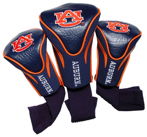 Team Golf NCAA Auburn University Tigers Contour Golf Club Headcovers (3 Count), Numbered 1, 3, & X, Fits Oversized Drivers, Utility, Rescue & Fairway Clubs, Velour lined for Extra Club Protection