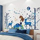 Blue Moon Deer Arbres Stickers Muraux DIY Cartoon Girl Stickers Muraux pour Chambre D'enfant Bébé Chambre Décoration de La Maison