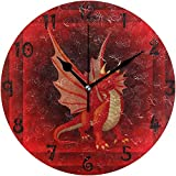Reloj De Pared Arte Red Angry Dragon Reloj De Pared Redondo Placa Circular Silencioso Relojes Sin Tictac para Cocina Oficina En El Hogar Decoración Escolar Niños Niños Niñas