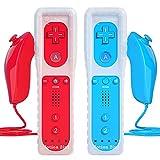 TechKen Controller für Wiimit Motion Plus und Wii Nunchuck ControllerWii Fernbedienung Nunchuk Kontroller Wii Vernbedinung Remote Plus Controller Ersatz für Wii/WiiU Konsole mit Silikonhülle Armband