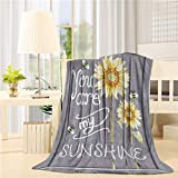 You are My Sunshine Blanket Lightweight Flannel Fleece Sunflower Throw Blankets Reversible Cozy Plush Microfiber All-Season Blanket for Bed/Couch/Sofa - Twin 50x60 Inch, Yellow Gray