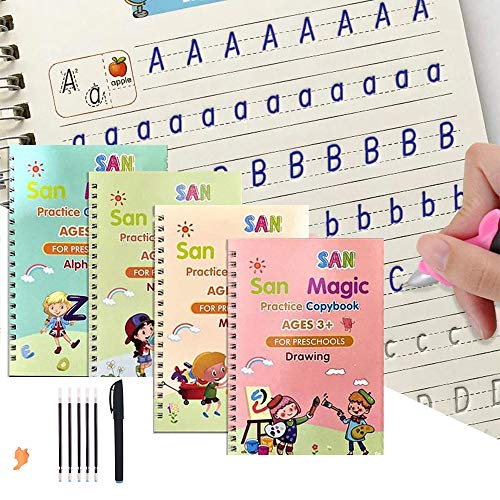 4 Pack Magic Practice Copybook That Can Be Reused,Magic Calligraphy Set for Kids Number Math Drawing Alphabet Handwriting Book,Repeatedly Letter Writing Copybook