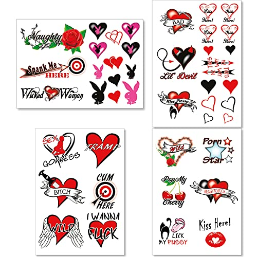 44+ Sexy Naughty Temporary Tattoos for Women Ladies- Adult Fun for Lower Back Legs Arms Butt Stomach