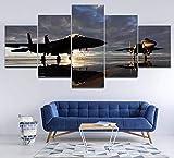 KOPASD 5 Piezas Ciudad de Noche de Arte de Pared impresión en Lienzo Dougl Jet Fighter Arte Moderno para decoración del hogar
