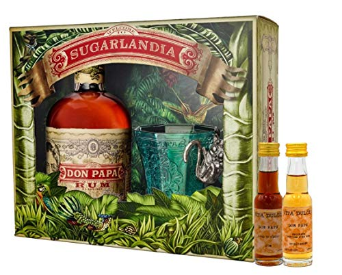 Don Papa Geschenkset - Rum 0,7l + Glas + 2 Vita Dulcis Miniaturen 0,02l (Don Papa 10 Jahre, Don Papa Masskara) - Rum aus Negros
