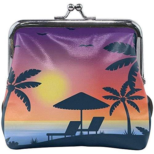 Tropical Beach met Sunset Classic Buckle portemonnee leder Kiss-Lock
