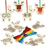 10 Piezas Kits de Punto de Cruz de Madera de Navidad Adornos de Madera de Árboles de Navidad de Punto de Cruz de Reno Decoraciones Colgantes de Navidad de Manualidades para Artículo Arte