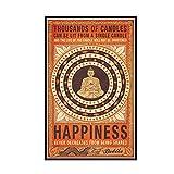 GUICAI Miles de Velas, Felicidad, Budista, Motivacional, Citas, impresión artística, póster, decoración de la Pared del hogar, 50X100 cm, sin Marco, 1 Pieza