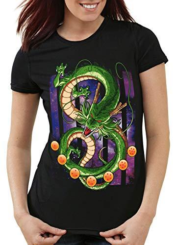 style3 Shenlong Dragón Camiseta para Mujer T-Shirt Shenron Z Goku Vegeta Roshi Ball, Talla:L