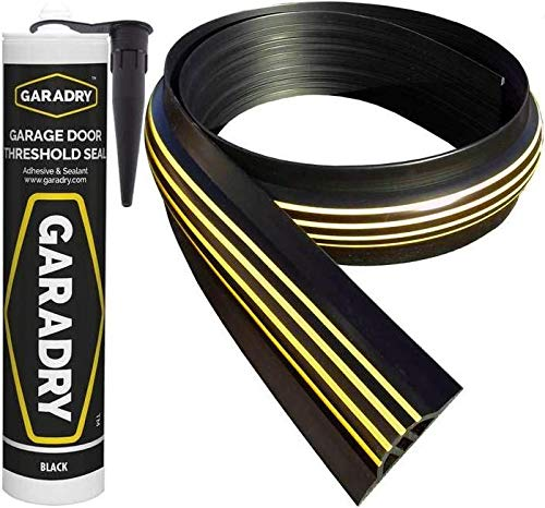 Weather Stop 30 mm (Höhe) Bodenabdichtung für Garagentore   2,52 m   PVC schwarz/gelb   Kleber im Kit enthalten
