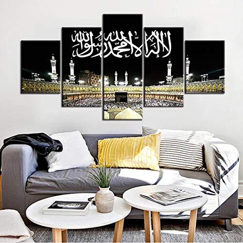 TXFMT Geen frame canvas decoratie schilderij handgemaakte DIY moslim Bijbel poster Islamic Allah logo stad nacht schilderij 5 muur kunst woonkamer huisdecoratie HD print foto foto's schilderijen op doek w 150*100CM