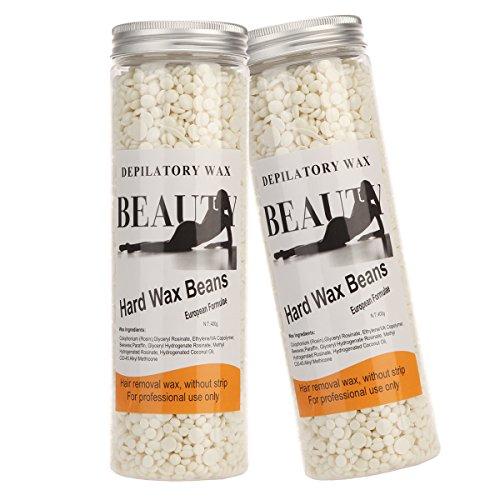 Bonjanvye Hair Removal for Men Hard Wax Strip Free Hard Wax Beans 800g White