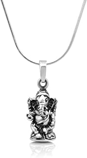 925 Oxidized Sterling Silver 3D Hindu Lord Ganesh Ganesha God of Fortune Pendant Necklace, 18 inches