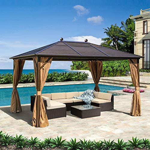EROMMY Outdoor Galvanized Steel Hardtop Gazebo Canopy Aluminum Furniture Pergolas with Netting and Curtains for Garden,Patio,Lawns,Parties
