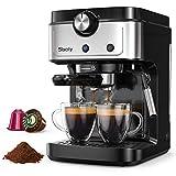 Sboly Macchina per Espresso, Macchina per Caffè 2-In-1 Compatibile Con Capsule Nespresso e Caffè Macinato, Macchina per Espresso a 19 bar Con Serbatoio dell'Acqua Rimovibile
