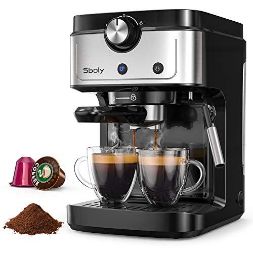 Machine à Expresso Sboly, Machine à Café 2 en 1 pour Café Moulu et Capsule Compatible Nespresso, Machine à Expresso 19 Bars avec Buse à Vapeur de Lait pour Cappuccino et Café Latte