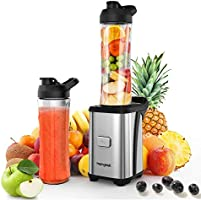 homgeek Batidora de Vaso Individual, Licuadora Portatil 350W para Smoothies, Frutas y Verduras, Incluye 2 Botellas de...