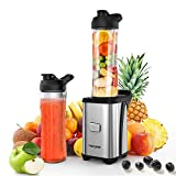 homgeek Smoothie Blender, Multifunctional Personal Mini Blender Mixer for Milkshake, Fruit and Vegetable Drinks, with 2 BPA-Free Portable Bottles(600ML), 4 Sharp Blades, 350W, 23,000 RPM, Silver