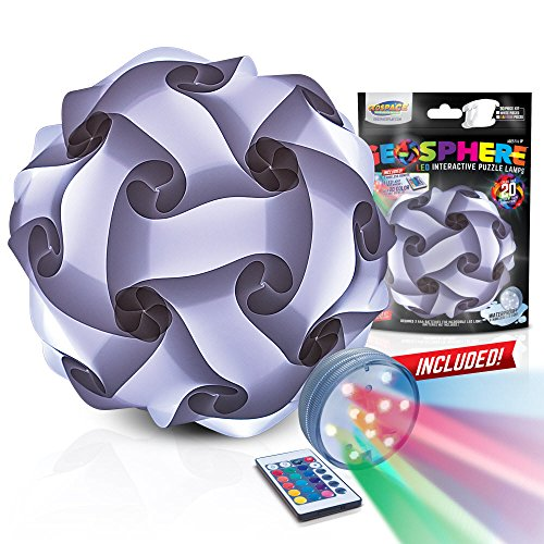 GEOSPHERE 30 pc White Puzzle Lamp Kit Complete with Wireless LED Light (16' White Puzzle Lamp)
