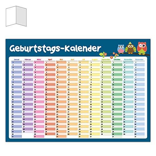 Immerwährender Kalender Eulen/Geburtstagskalender/Dauerkalender/einseitig DIN A3 gefaltet/in tollem Design/Wandplaner/Jahresunabhängig/Hochzeitstage/Happy Birthday Kalender/Planer/Poster