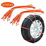 Carrfan 20PCS Car Tire Anti-Skid Strap - Snow Chains, Vehicle Tyre Non-Slip Zip