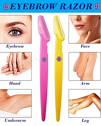 Ear Lobe & Accessories Stainless Steel Eyebrow Razor for Women, 14.5 cm (Multicolour) - Pack of 3