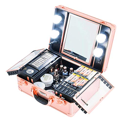 Kemier Makeup Train Case - Cosmetic Organizer Box Makeup Case with Lights and Mirror / Makeup Case with Customized Dividers / Large Makeup Artist Organizer Kit (Rose Gold)