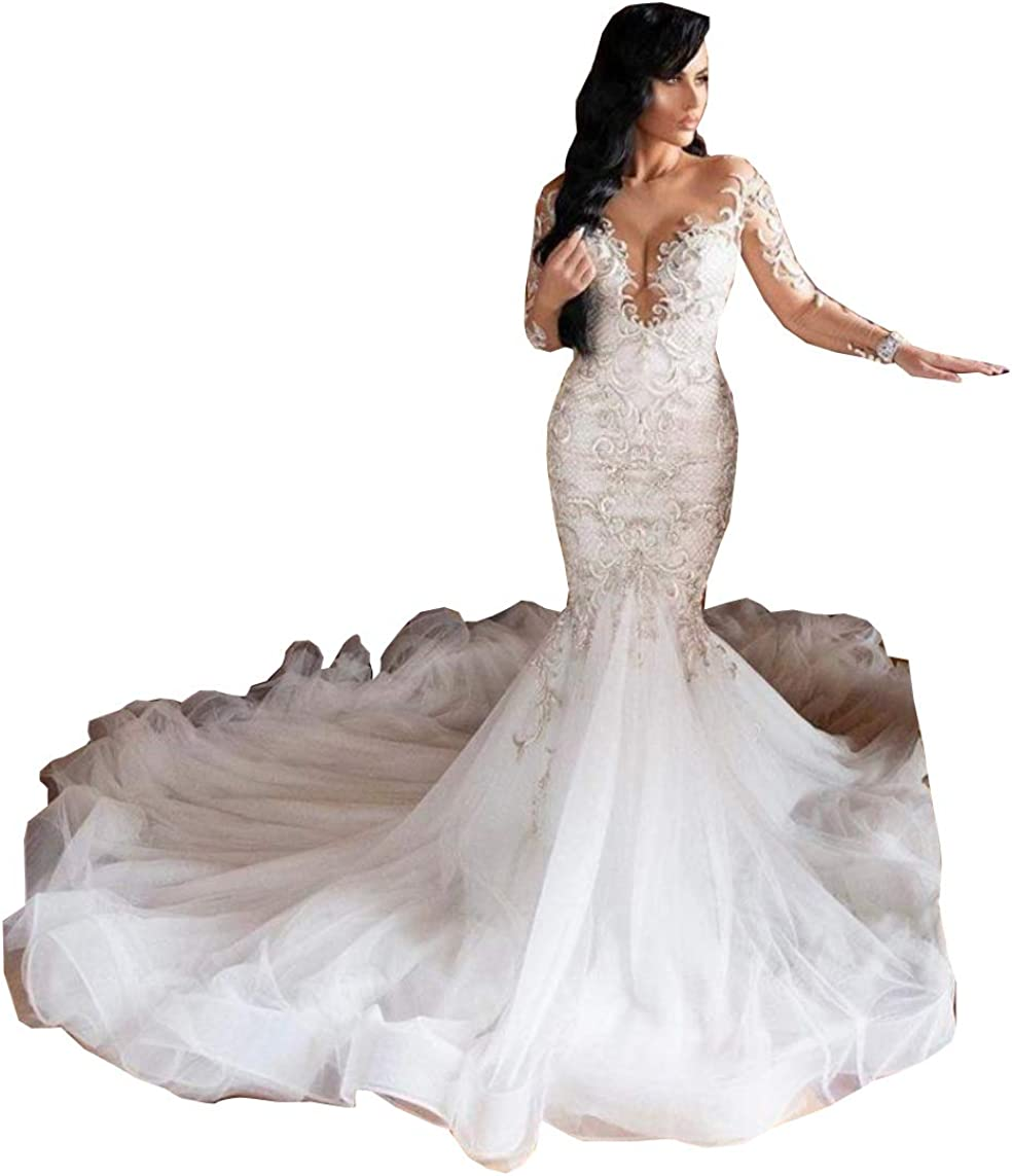 Melisa Lace Sequins Long Sleeves Corset Beach Bridal Ball Gowns Train Mermaid Wedding Dresses for Bride